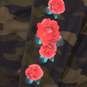 PINK Victoria's Secret Tops - VS PINK green Camo red rose floral campus tee